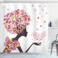 """Ambesonne Butterflies Shower Curtain, Girl with a Heart of Butterflies Enjoying Blossoms Summertime Fantasy Happy, Cloth Fabric Bathroom Decor Set with Hooks, 70"""" Long, Pink Yellow"""
