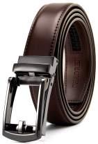 "Leather Ratchet Belt 1 1/4"" Comfort with Click Buckle, CHAOREN Dress Belt Adjustable Trim to Exact fit"