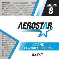 Aerostar 8x8x1 MERV 8, Pleated Air Filter, 8x8x1, Box of 6, Made in The USA