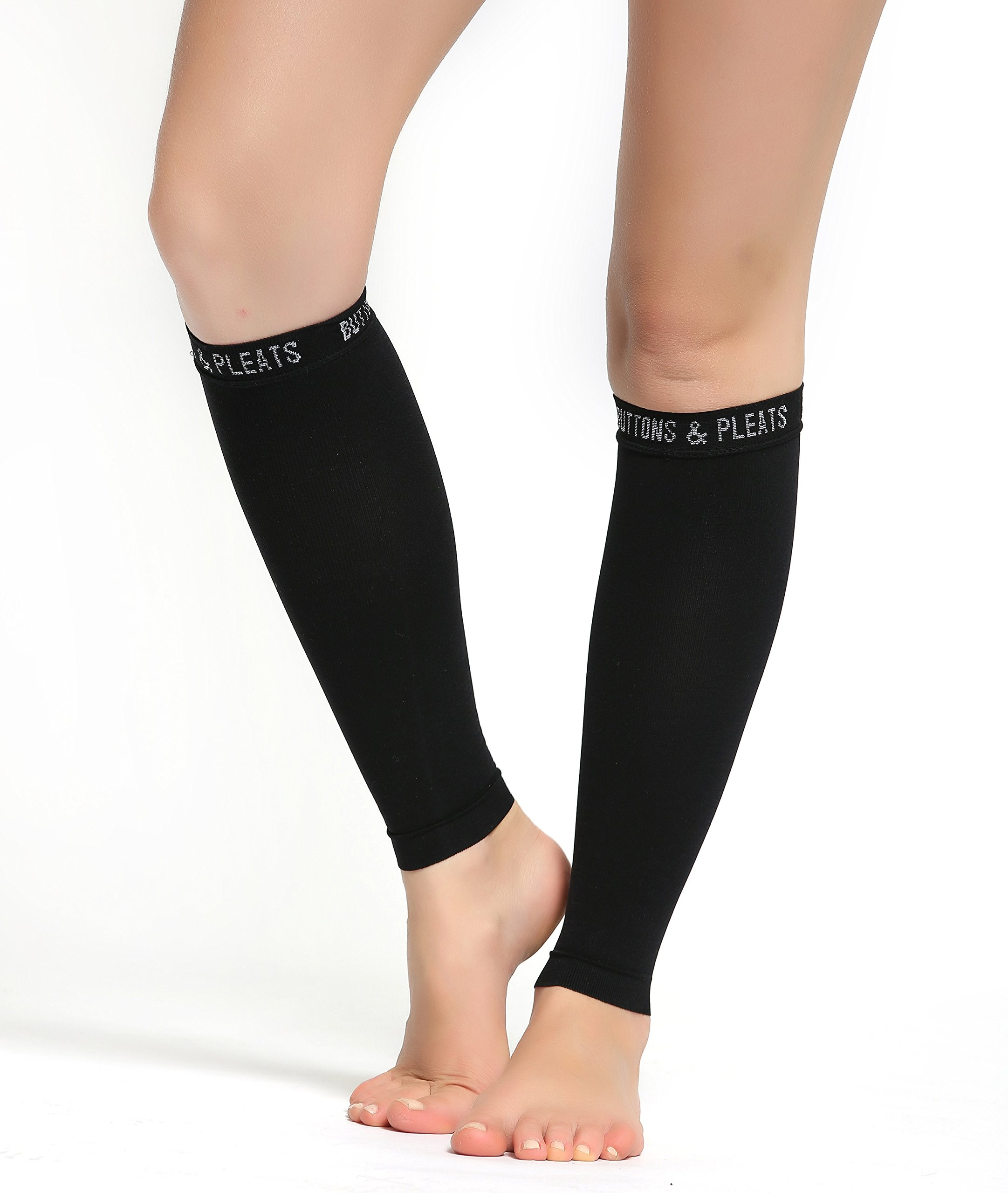 Buttons & Pleats Calf Compression Sleeve for Women & Men - Footless Leg Sleeves Socks - Boosts Circulation - Reduces Fatigue - Eases Shin Splints for Athletes, Runners & Everyday Wear 1 Pair