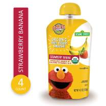 Earth's Best Earth's Best Organic Sesame Street Toddler Fruit Yogurt Smoothie, Strawberry Banana, 4.2 Ounce Pouch (4 Packs of 4 Pouches), 4 Count