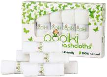 Pupiki Premium Baby Washcloths 6 Ultra-Soft Hypoallergenic 100% Organic Bamboo from Rayon Fiber Baby Bath Washcloth Face Towels Absorbent 10X10 Newborn Towel Pack Unisex Baby Shower Gift White