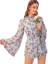 Romwe Women's Boho Floral Printed Ruffle Bell Sleeve Loose Fit Hippie Jumpsuit Rompers Pastel Blue Large