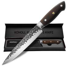 KONOLL Slicing Carving Knife 8 Inch Razor Sharp Sashimi Knife, Forged Hammered High Carbon Steel Kitchen Knife with wooden Handle (Carving Knife 8 Inch)