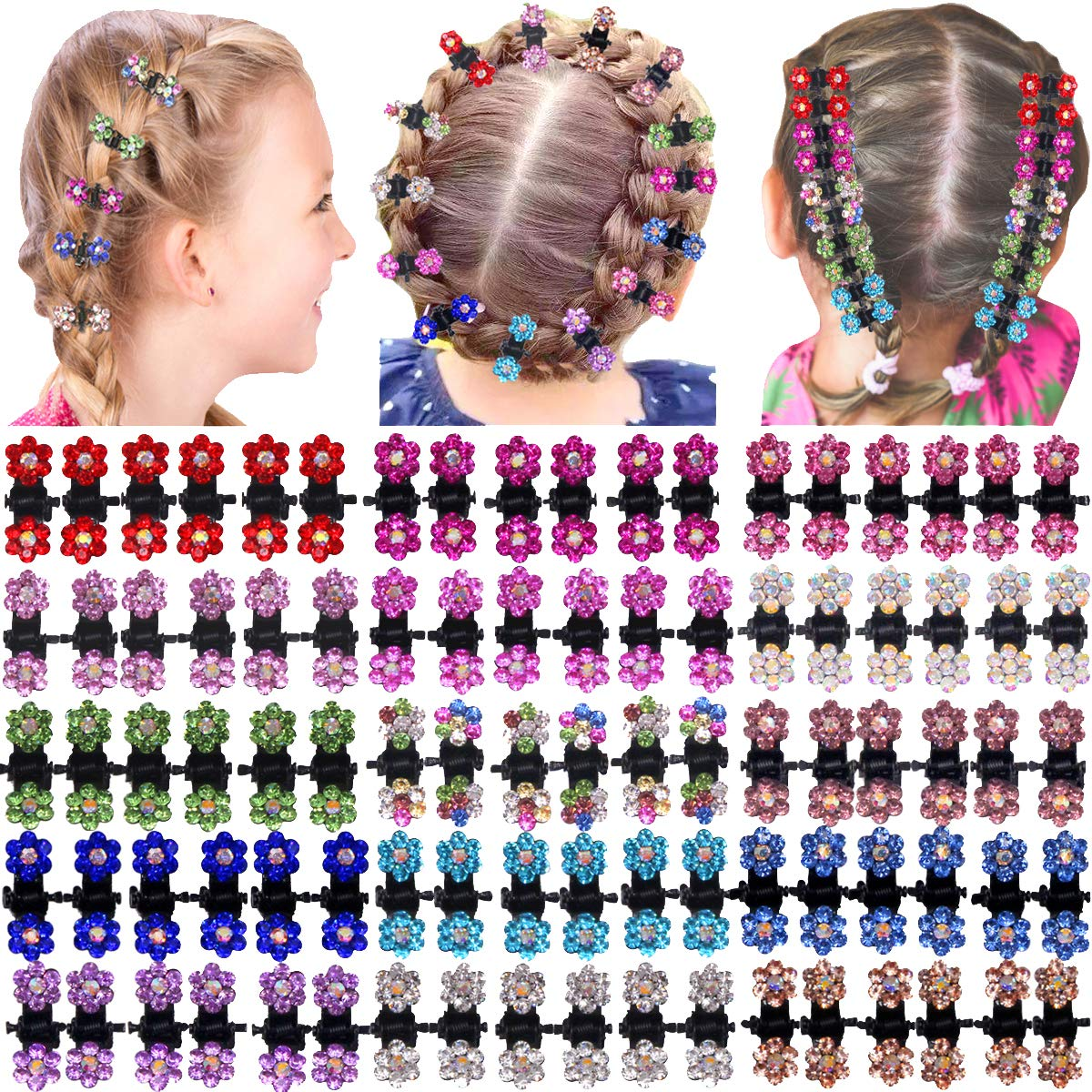 90 Pieces Baby Girls Hair Claw Clips Crystal Rhinestones Tiny Hair Clips Mix Colored Flower Hair Bangs Pin for Kids Women Hair Accessories (6 X15 Colors)
