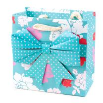 """Hallmark Signature 5"""" Small Gift Bag - Origami Bow in Blue with Pink, White and Red Flowers for Valentines Day, Birthdays, Baby Showers, Bridal Showers, Mothers Day or Any Occasion"""