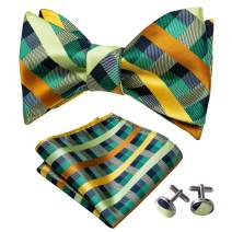 YOHOWA Self Tie Bow Tie and Pocket Square Set for Men Silk Bow Tie Cufflinks Set