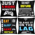 Whaline Video Game Throw Pillow 18 x 18 Inch Gamer Controller Pillow Cover Gaming Throw Cushion Cover 4 Pack Gamepad Logo Pillow Case Design for Home Office Car Sofa Couch Living Room