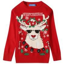 SSLR Big Boys' Holiday Reindeer Pullover Crewneck Ugly Christmas Sweater