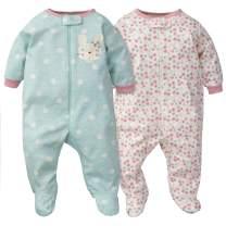 Gerber Baby Girls' 2-Pack Organic Sleep 'N Play