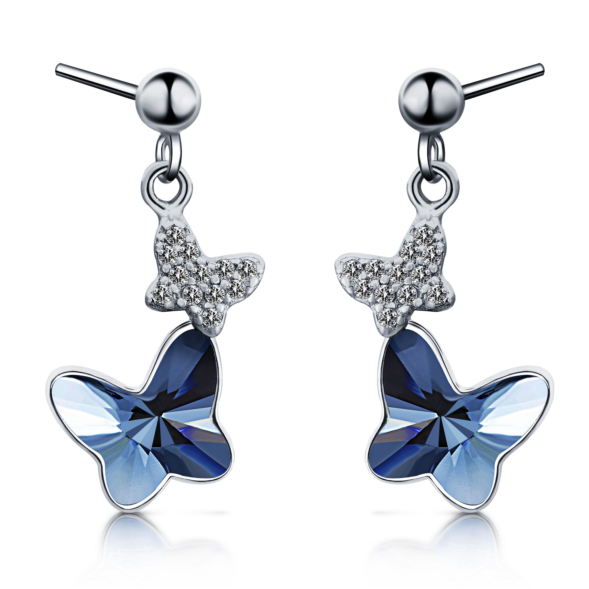 T400 925 Sterling Silver Blue Butterfly Crystal and Simulated Pearl Dangling Stud Earrings Birthday Gift for Girls Women