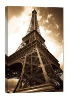 LightFairy Glow in The Dark Canvas Painting - Stretched and Framed Giclee Wall Art Print - City Urban Decor Foot of The Eiffel Tower - Master Bedroom Living Room Decor - 6 Hours Glow - 24 x 36 inch