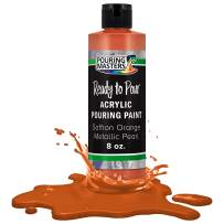 Pouring Masters Saffron Orange Metallic Pearl Acrylic Ready to Pour Pouring Paint – Premium 8-Ounce Pre-Mixed Water-Based - for Canvas, Wood, Paper, Crafts, Tile, Rocks and More