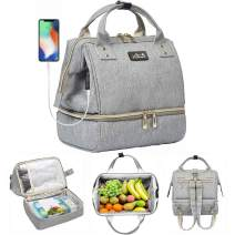 Viedouce Women Lunch Bag Backpack Small Baby Diaper Bag for Breast Pump, Gray