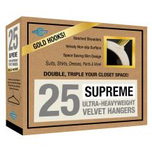 Closet Complete 71627 Supreme Quality, Heavyweight, 85-Gram, Virtually-Unbreakable Velvet, Ultra-Thin, Space Saving, No-Slip Suit Hangers, 360° Spinning,Gold, 25, Ivory, 25 Set