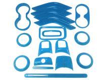 18 PCS Full Set Interior Decoration Trim Kit Steering Wheel Center Console Door Handle Air Conditioning Vent Cup Holder Gear Cover Trim for Jeep Wrangler JK JKU 2011-2018 4-Door (Light Blue)