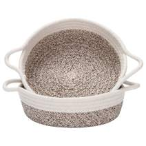 Sea Team 2-Pack Cotton Rope Baskets, 10 x 3 Inches Small Woven Storage Basket, Fabric Tray, Bowl, Round Open Dish for Fruits, Jewelry, Keys, Sewing Kits (Mottled Brown & White)