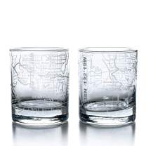 Greenline Goods Whiskey Glasses - 10 Oz Tumbler Gift Set for Seattle lovers, Etched with Seattle Map | Old Fashioned Rocks Glass - Set of 2