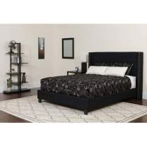 Flash Furniture Riverdale Queen Size Tufted Upholstered Platform Bed in Black Fabric with Pocket Spring Mattress