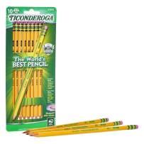 TICONDEROGA Pencils, Wood-Cased, Pre-Sharpened, Graphite #2 HB Soft, Yellow, 10-Pack (33892)