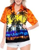 LA LEELA Women's Tropical Hawaiian Blouse Shirt Button Down Shirt Dress Printed