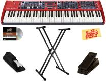 Nord Stage 3 Compact Keyboard Bundle with Stand, Sustain Pedal, Austin Bazaar Instructional DVD, and Polishing Cloth