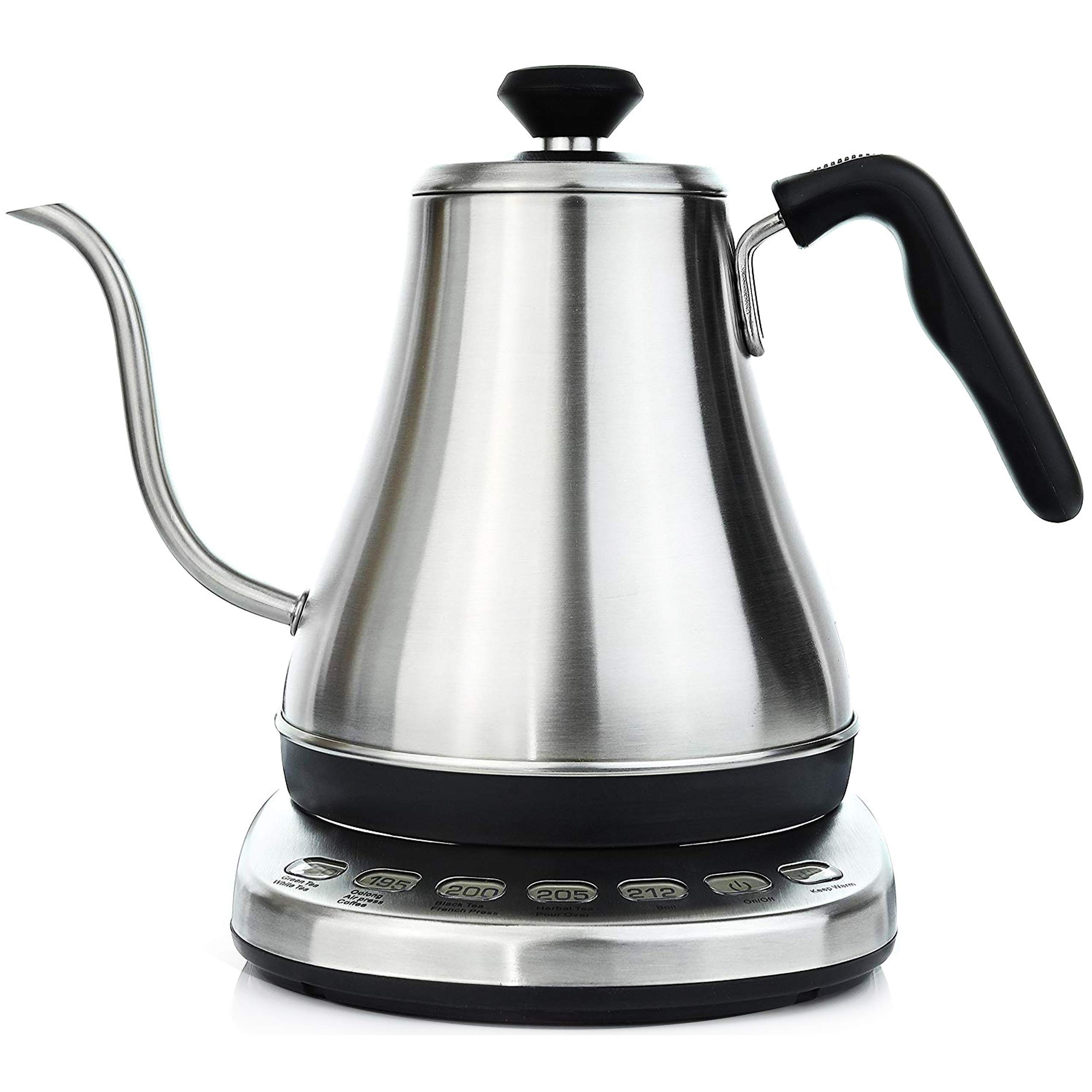 Gooseneck Electric Kettle with Temperature Control & Presets - 1L, Stainless Steel - Tea & Pour Over Coffee Kettle