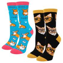 HAPPYPOP Women Unicorn Corgi Cat Alien Socks, Novelty Funny Socks with Gift Box