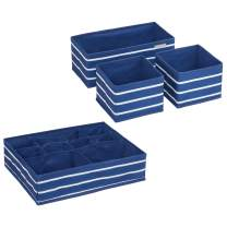 iDesign InterDesign ID jr Fabric Storage Set with Compartments for Nursery, Closet, Dresser Top, Changing Table – Set of 4, Navy/White IDjr Rugby 4-Piece Accessory, Drawer Organizers
