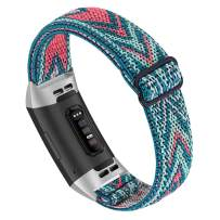 Joyozy Adjustable Elastic Bands Compatible for Fitbit Charge 3/Fitbit Charge 4/Charge 3 SE,Stretchy Soft Nylon Replacement Loop Wristband Accessories Dressy Strap for Women Girl