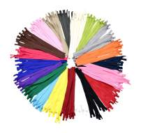 Nylon Invisible Zipper for Sewing, 12 Inch 100 PCs Bulk Hidden Zipper Supplies in 20 Assorted Colors; by Mandala Crafts