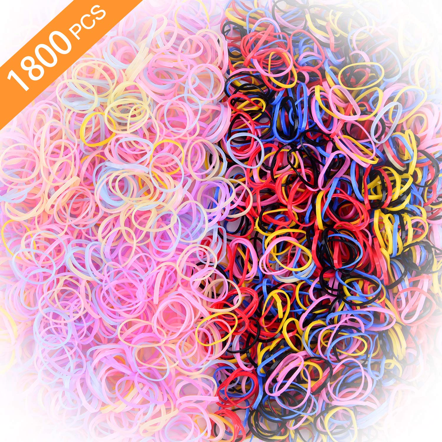 Toddlers Hair Ties for Kids Girls Baby Elastic Mini Hair Bands 1800pcs No Damage Hair Rubber Bands Multi Candy&Deep Color Hair Holder (Jelly colors + Deep colors)