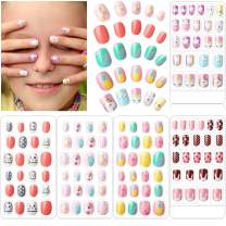 120 Pieces Girls Press on Nails Fake Nails Artificial Nail Tips Children Full Cover Short False Fingernails for Girls Kids Nail Art Decoration, 5 Boxes (Animal Theme)