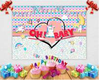 Art Studio 7x5ft Rainbow Unicorn Theme Oh Baby Party Photography Backdrop Colorful Unicorn Magic Girl Princess Birthday Party Bokeh Photo Background Mermaid Scales Cake Table Decor Studio Props Vinyl