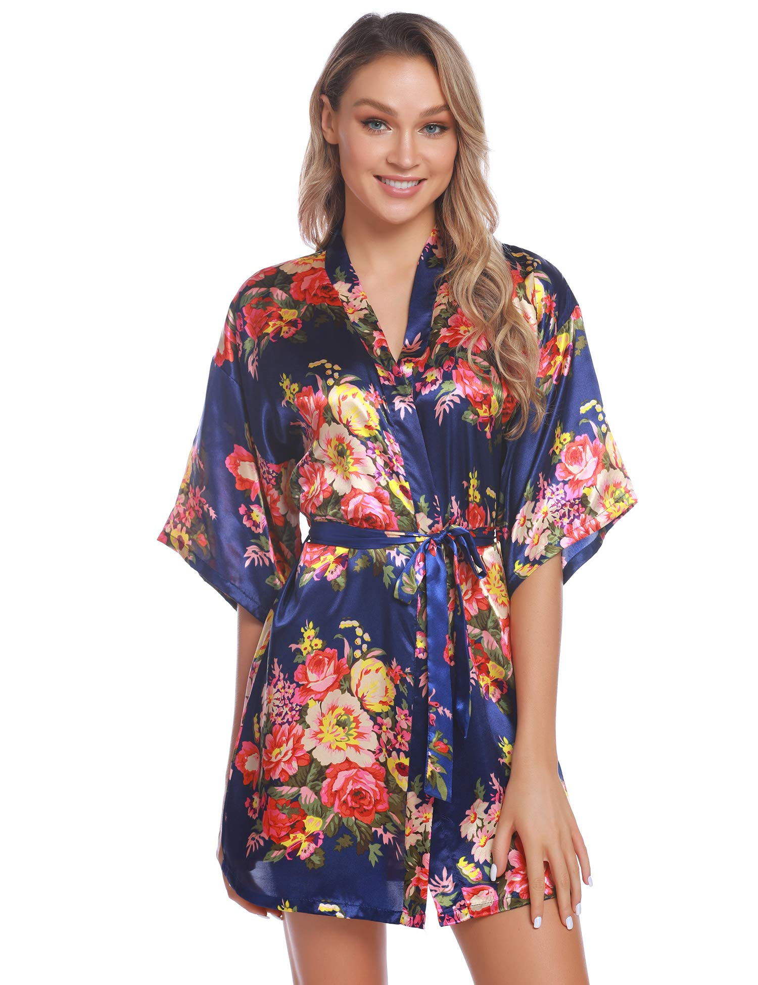 Aiboria Women S Floral Satin Bride Bridesmaids Robes Wedding Bridal Party Kimono Robes Sleepwear