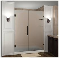 "Aston Nautis GS 59"" x 72"" Completely Frameless Hinged Shower Door in Frosted Glass with Shelves, Oil Rubbed Bronze"