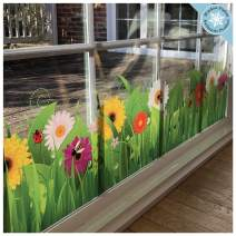 Flower Window Clings - Wild Grass with Flowers and Insects Window Border Decal - Adhesive Free Spring Decorations Window Stickers - Reusable Glass Door Sticker Decals
