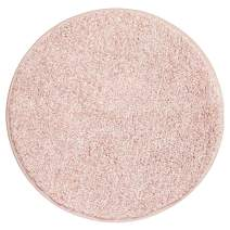 "mDesign Soft Microfiber Polyester Non-Slip Round Spa Mat/Runner, Plush Water Absorbent Accent Rug for Bathroom Vanity, Bathtub/Shower, Machine Washable - 24"" Diameter - Heather Blush Pink"
