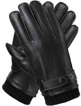Touchscreen Leather Gloves for Men, Gifts Daily Dress Driving Texting Winter Cold Weather Black Work Gloves