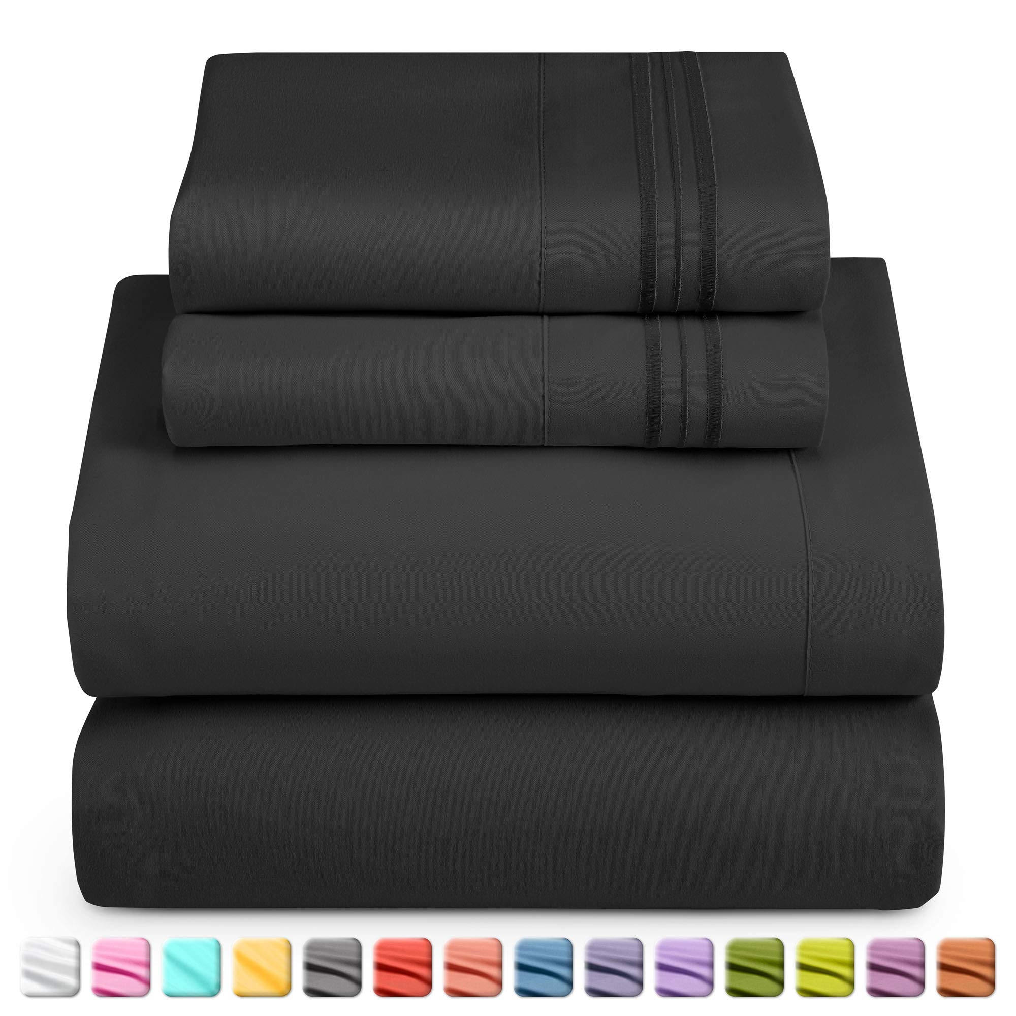 Nestl Deep Pocket Full Sheets: 4 Piece Full Size Bed Sheets with Fitted Sheet, Flat Sheet, Pillow Cases - Extra Soft Microfiber Bedsheet Set with Deep Pockets for Full Sized Mattress - Black