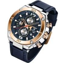 BENYAR Fashion Men's Quartz Chronograph Waterproof Leather Watches Business Casual Sport Design Wrist Watch for Men Father Son Black Blue Rose Gold