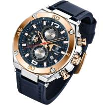 BENYAR Fashion Men's Quartz Chronograph Waterproof Leather Watches Business Casual Sport Design Wrist Watch for Men Father Son Black Blue Rose Gold