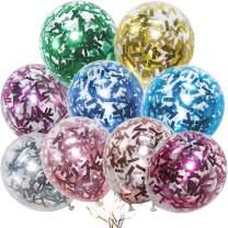 PartyWoo Glitter Confetti Balloons, 60 pcs 12 In Glittering Balloons of 9 Colors Glitter Balloons, Colorful Confetti Balloons, Sequin Balloons, Ribbons 2 Rolls for Confetti Wedding, Birthday Confetti