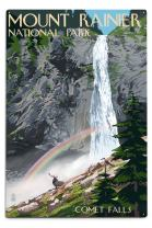 Lantern Press Mount Rainier National Park, Washington, Comet Falls and Elk (12x18 Aluminum Wall Sign, Wall Decor Ready to Hang)
