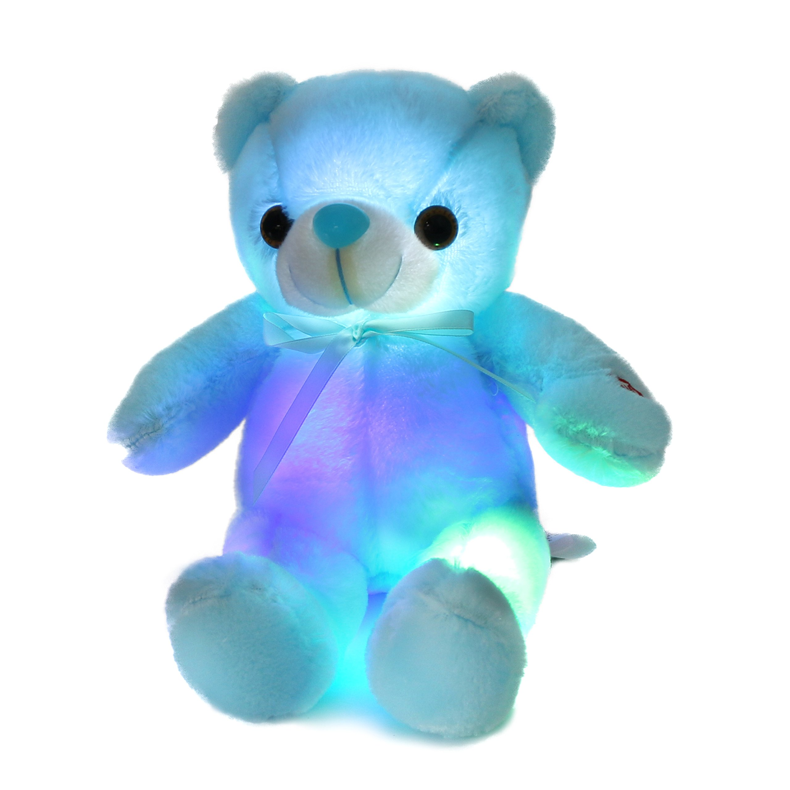 Houwsbaby Glow Teddy Bear with Bow-tie Stuffed Animal Light Up Plush Toys Gift for Kids Boys Girls Holiday Birthday, 12'' (Blue)