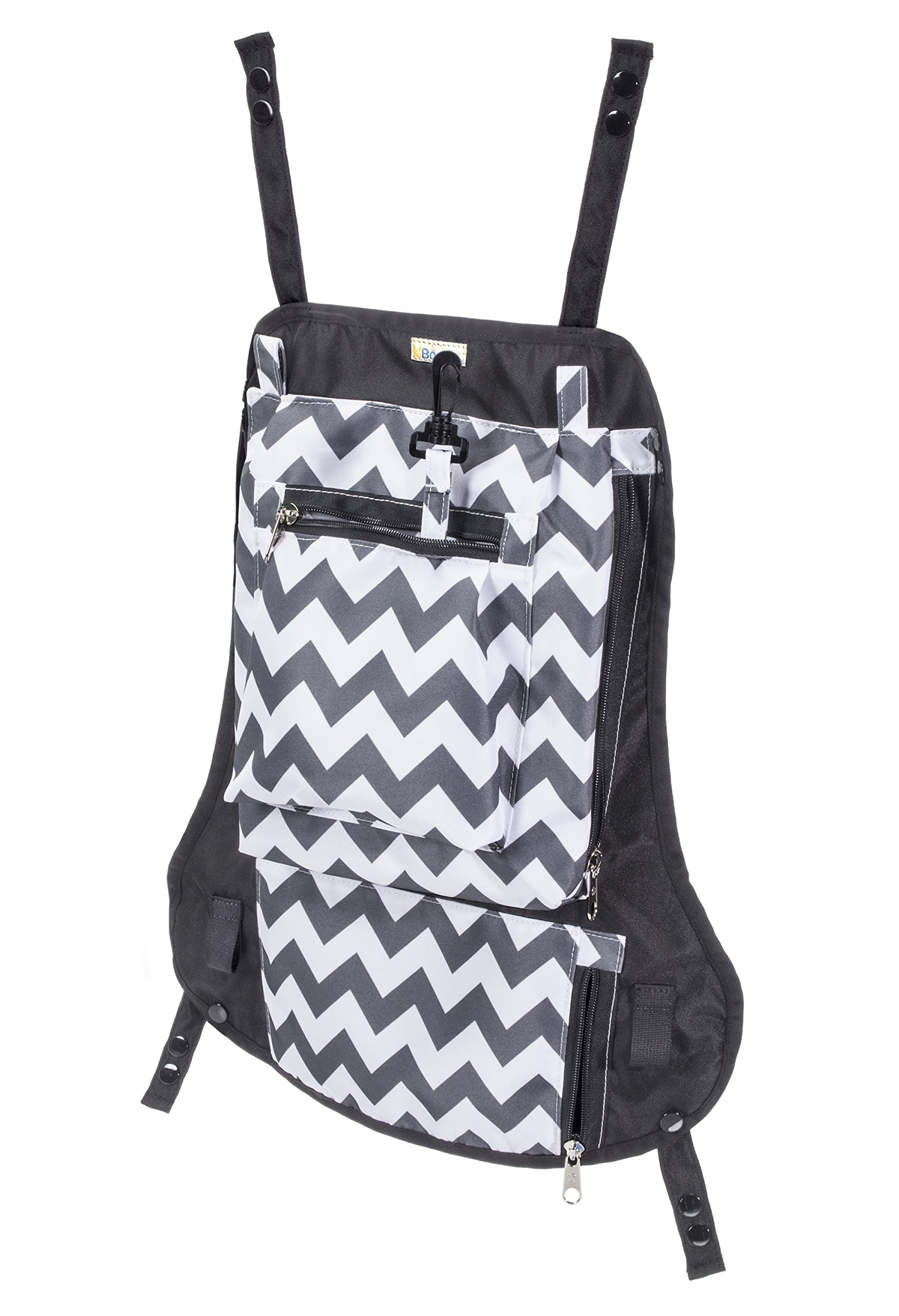 Attachable Diaper Bag: Snaps on baby carriers, and strollers for hands free parenting for active families (Chevron)