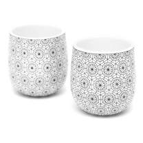 Double Walled Espresso Cups, Dobbelt Set of 2, 2 Ounce, Circle Pattern - Insulated Ceramic Cups for Latte, Cappuccino, Tea - Modern, Contemporary, Art Deco Design - Box Set, by Kop & Hagen