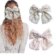 AWAYTR Chiffon Bow Barrettes Hair Clips 2 Packs Flower Elastic Hair Bow for Women Wedding Party