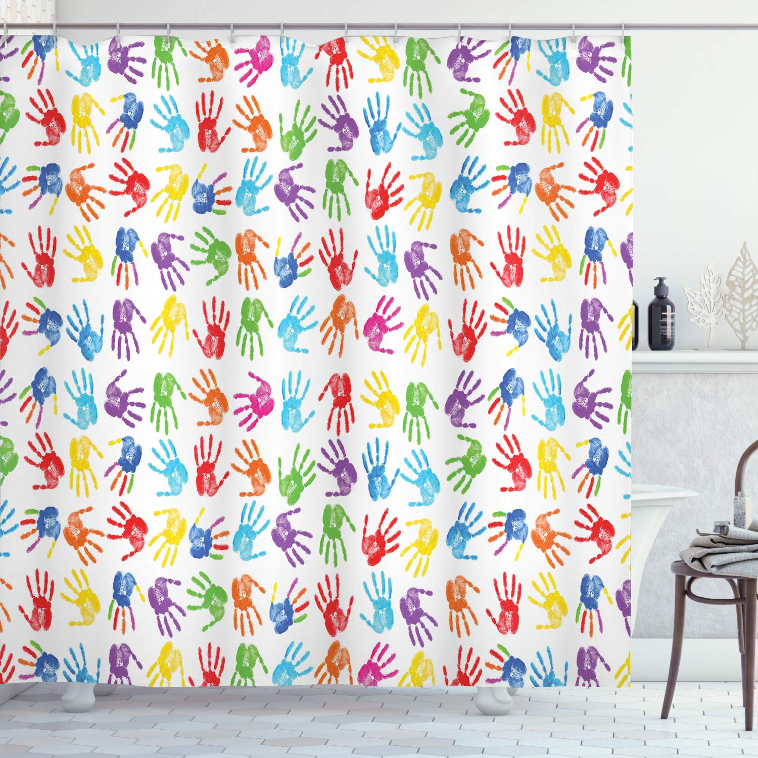 Ambesonne Colorful Shower Curtain Human Handprint Kids Watercolor Paint Effect Open Palms Collage Art Work Print Cloth Fabric Bathroom Decor Set With Hooks 70 Long Multicolor