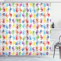 "Ambesonne Colorful Shower Curtain, Human Handprint Kids Watercolor Paint Effect Open Palms Collage Art Work Print, Cloth Fabric Bathroom Decor Set with Hooks, 70"" Long, Multicolor"